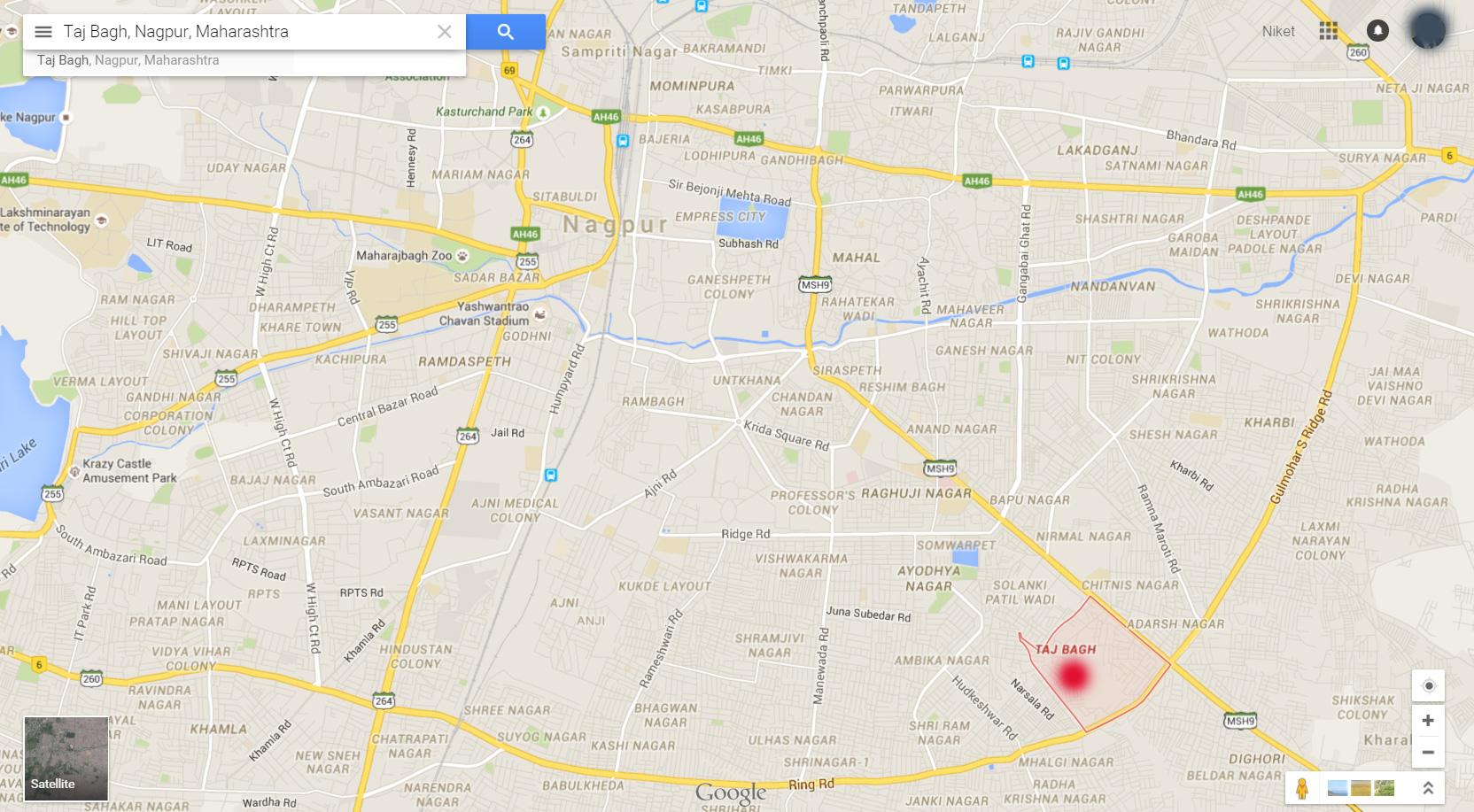 Taj Bagh Nagpur Location Map